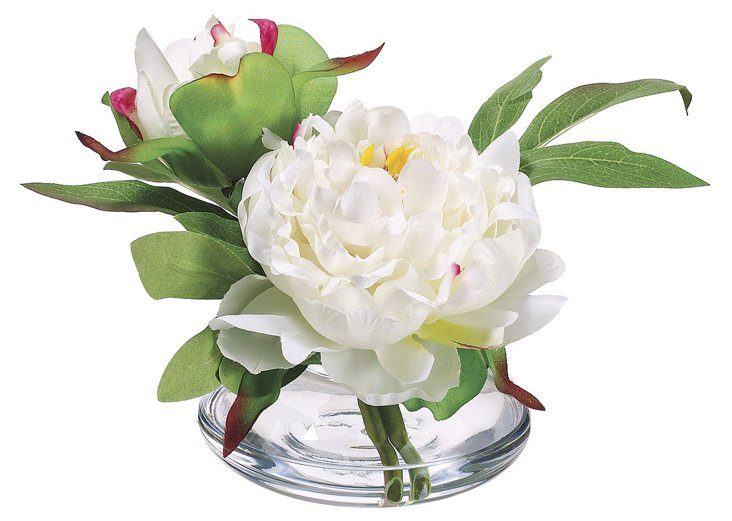 """6"""" Peony in Vase, Faux"""