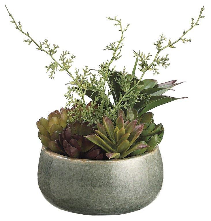 """7"""" Succulent Garden in Pot, Faux"""