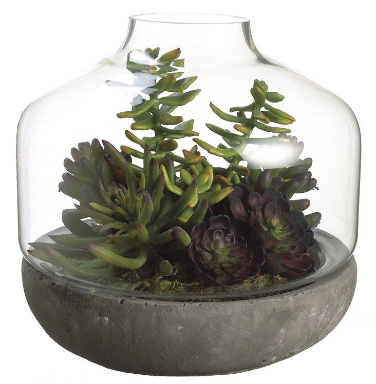 "12"" Succulent Garden Terrarium, Faux"