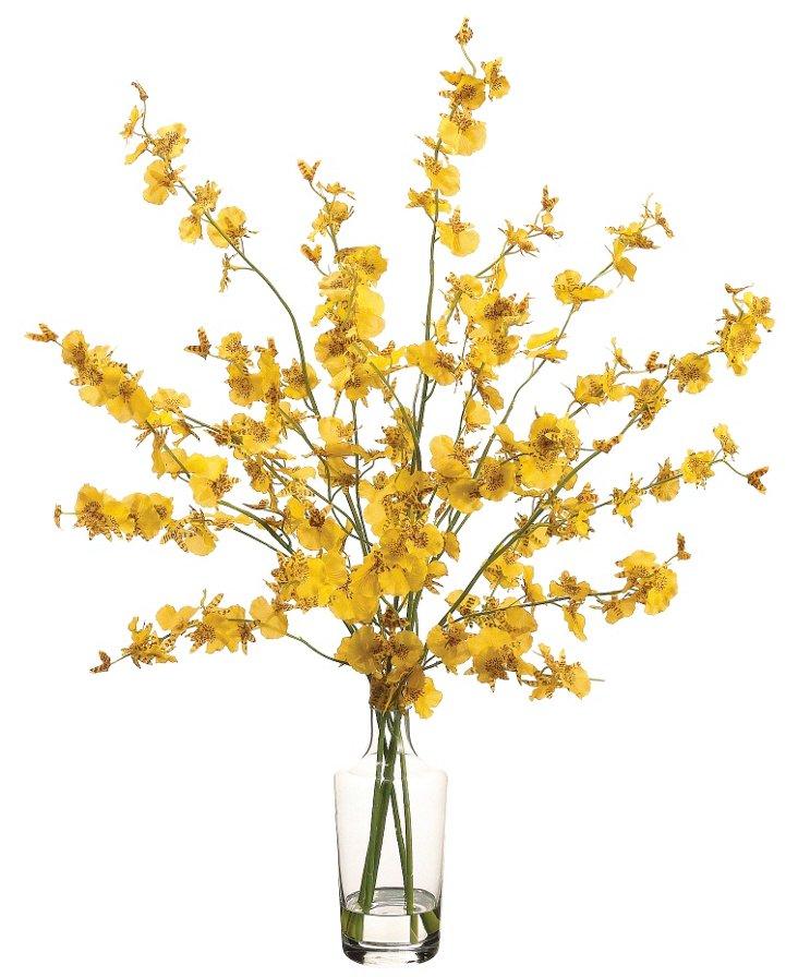 """27"""" Oncidium in Vase, Faux"""