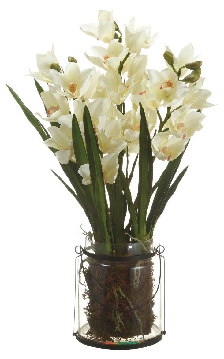 """30"""" Cymbidium Plant in Vase, Faux"""