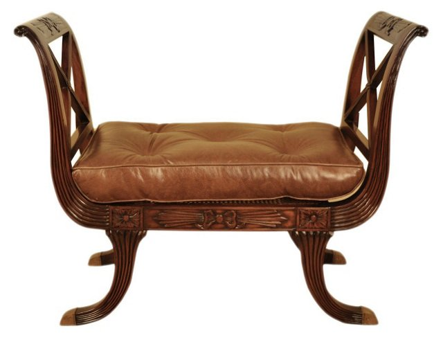 "Regency 41"" Tufted Leather Bench, Mocha"