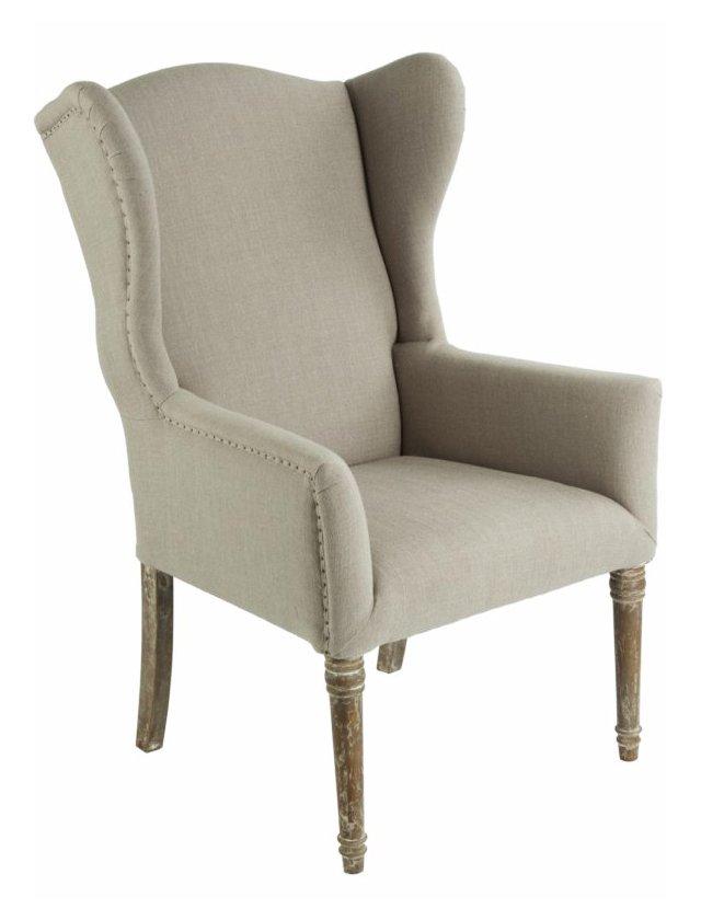 Eli Cotton Wingback Armchair, Mushroom