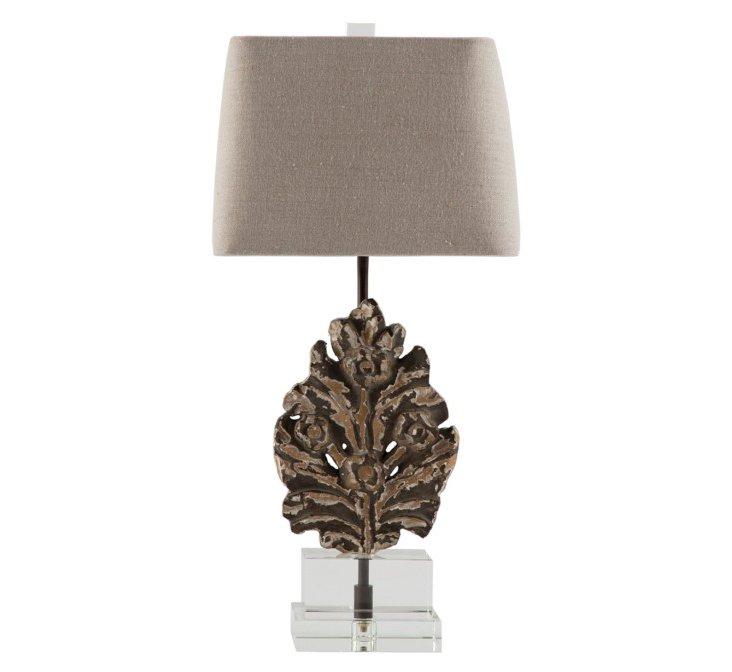 Fleurette Accent Table Lamp, Beige/Gray