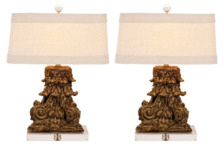 Corinth Table Lamp Set, Gold