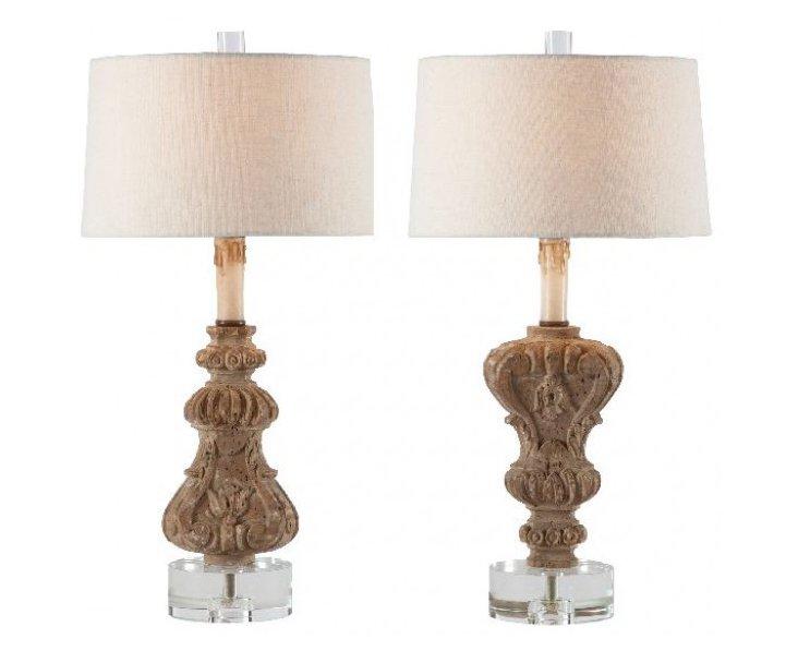 Up & Down Table Lamp Set, Natural Wood