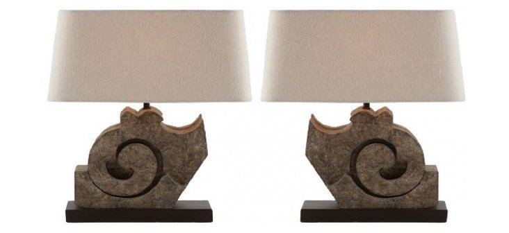 Truss Lamp Table Set, Antiqued Gray