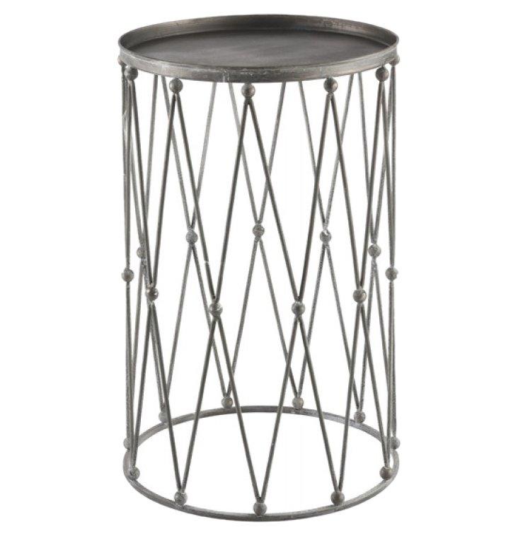 "Percussive 14"" Round Side Table, Silver"