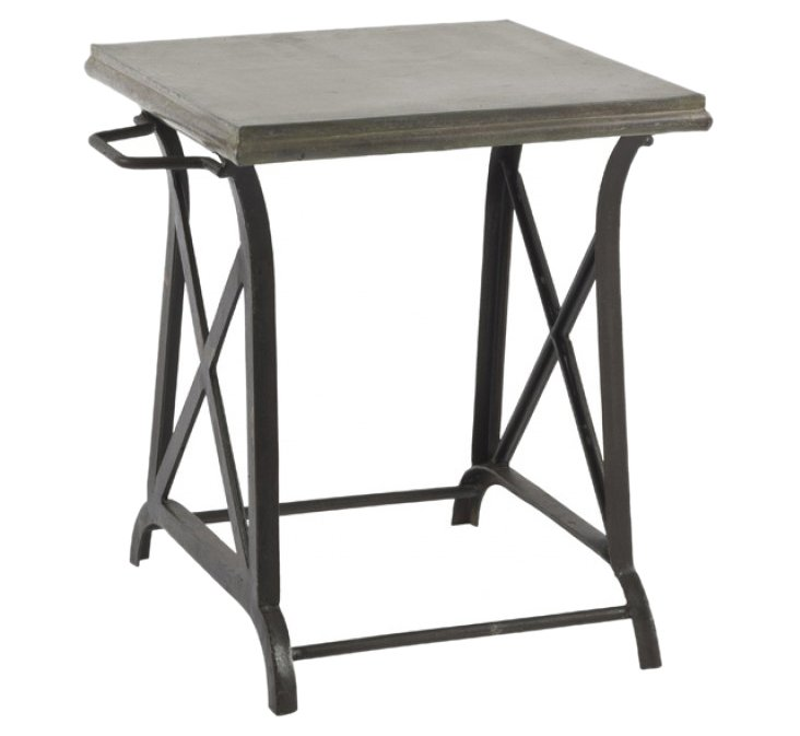 "Xander 23"" Iron Side Table, Gunmetal"