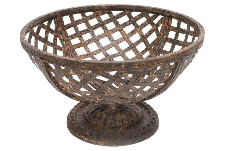 Metal Basket on Pedestal, Pair