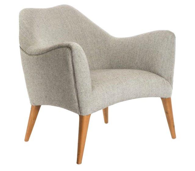 August Accent Armchair, Light Gray