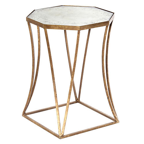 Bruce Mirrored Side Table, Gold