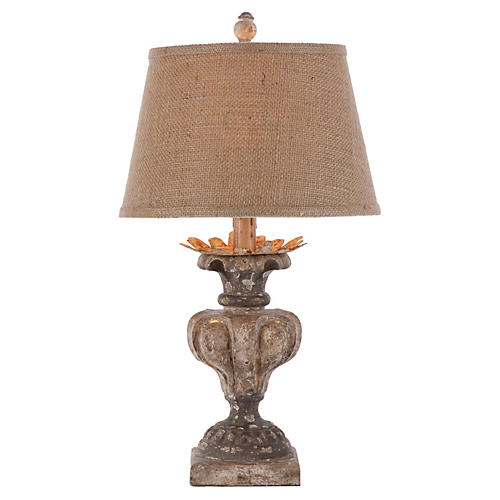 Londra Table Lamp, Distressed White