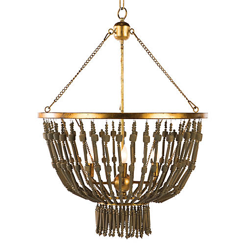 Lyons 4-Light Pendant, Brown/Gold