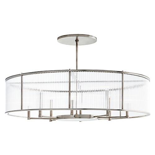 Hera Oval Chandelier, Silver/Clear