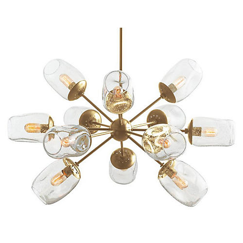 Ramirez Chandelier, Brass/Seeded