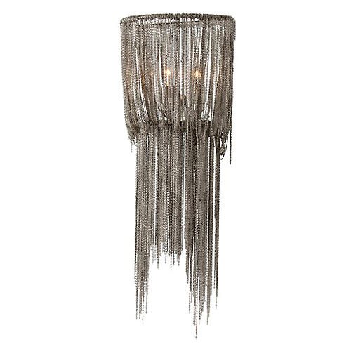 Yale Small Sconce, Nickel/Mirrored
