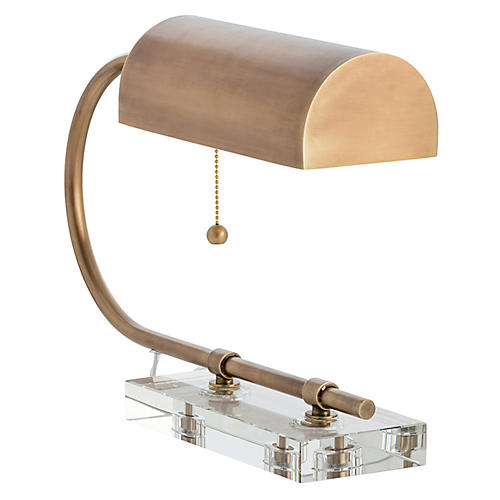 Dexter Crystal Desk Lamp, Brass/Clear
