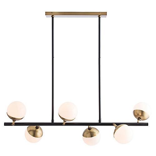 Wahlburg Chandelier, Brass/Bronze/Opal