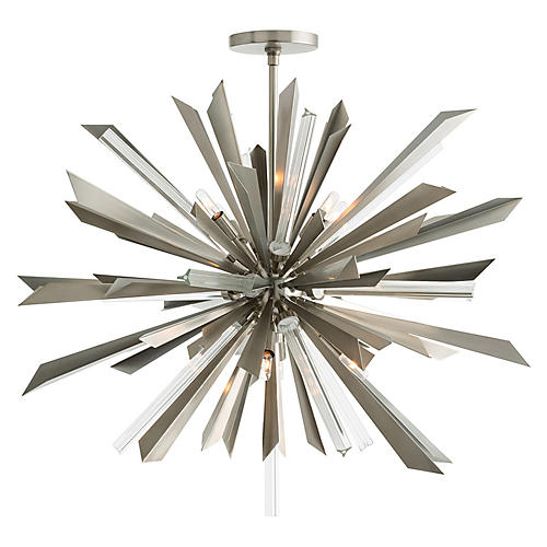 Waldorf Large Chandelier, Silver/Clear