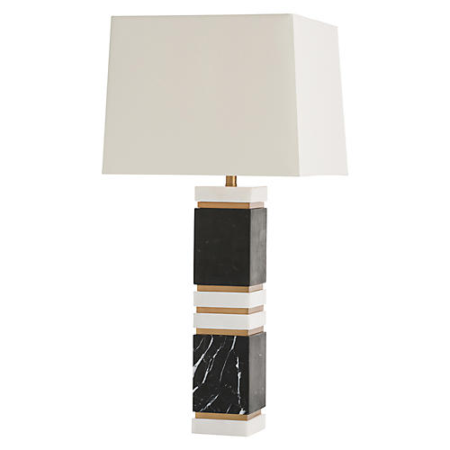 Dustin Marble Table Lamp, Black/White