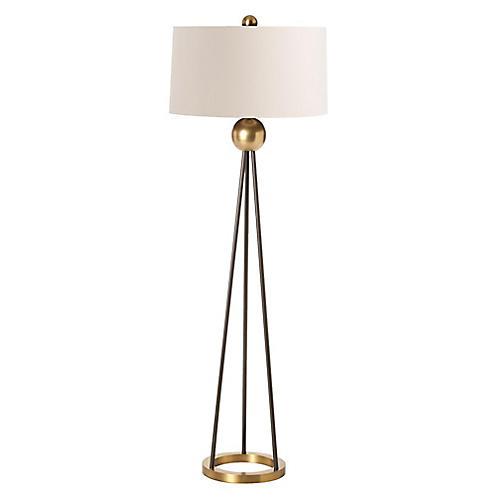 Hadley Floor Lamp, Black/Brass