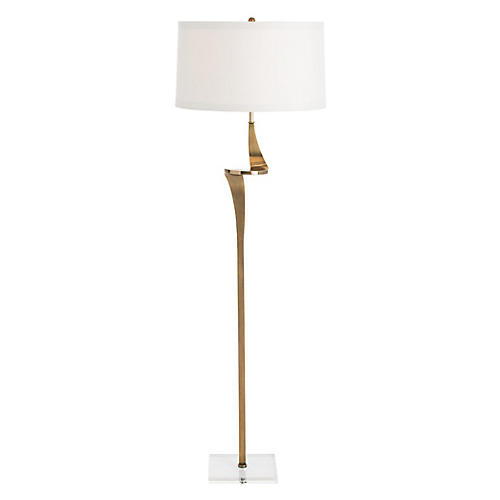 Roosevelt Crystal Floor Lamp, Brass/Clear