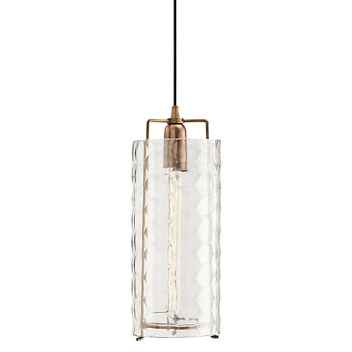 Ice Large Pendant, Brass/Clear