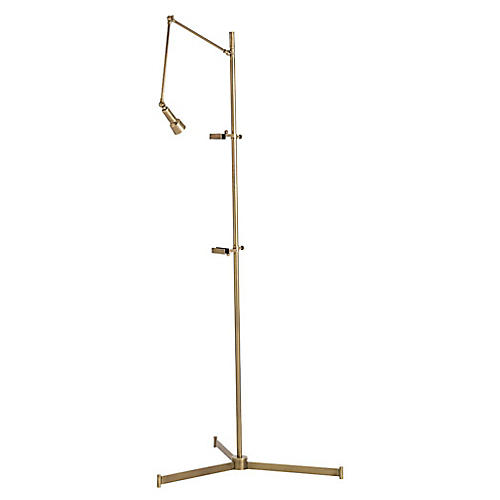 Aja Easel Floor Lamp, Antiqued Brass