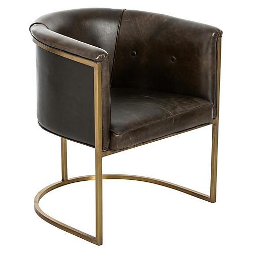 Calvin Club Chair, Bridle Brown Leather