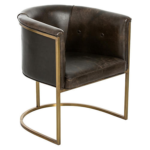 Calvin Club Chair, Bridle Brown Leather