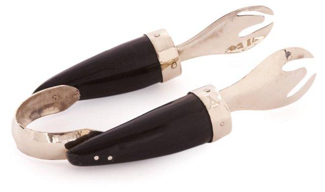 Alpaca Silver Jujuy Tongs, Black Horn