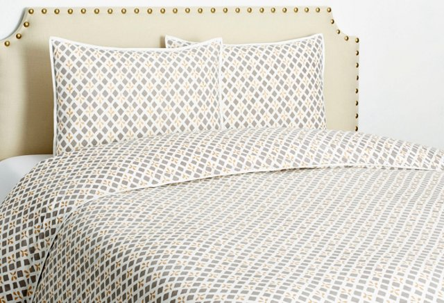 Mosaic Duvet Set, Pewter