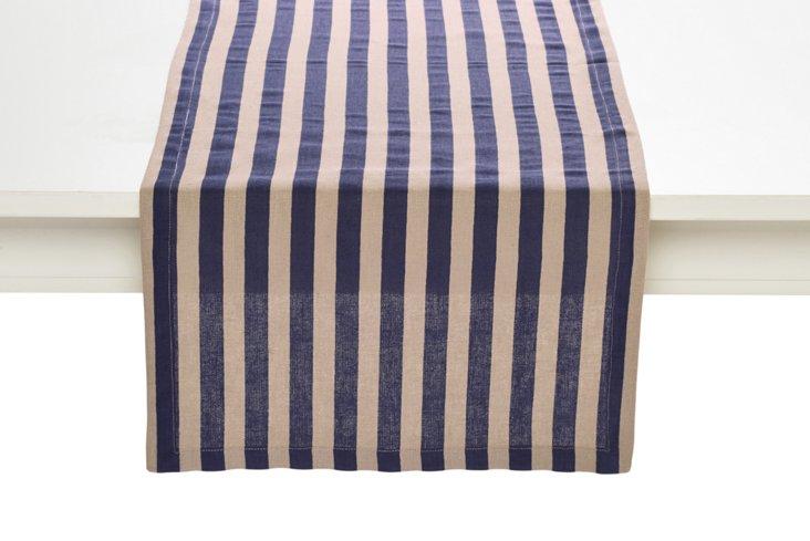 Striped Table Runner, Blue