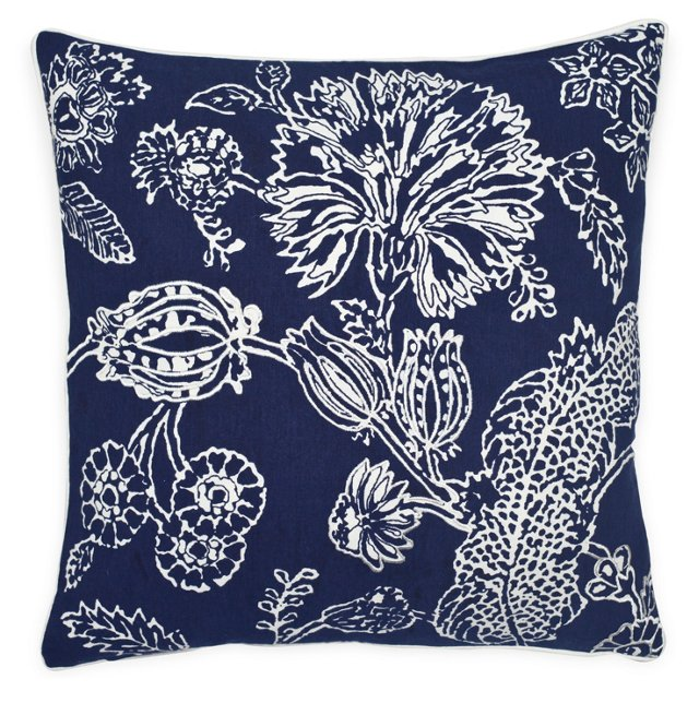 Floral 20x20 Cotton Pillow, Navy