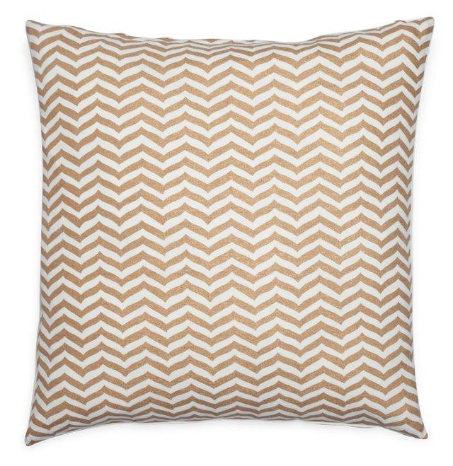 Chevron 20x20 Cotton Pillow, Gold