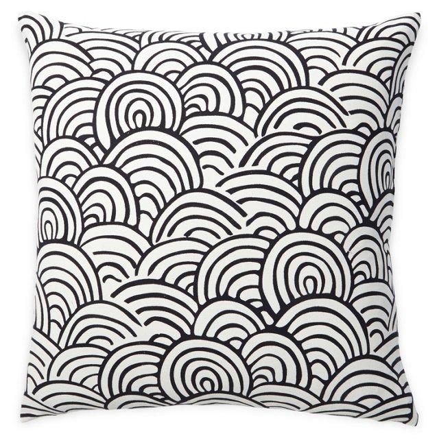 Scallop 20x20 Cotton Pillow, Black