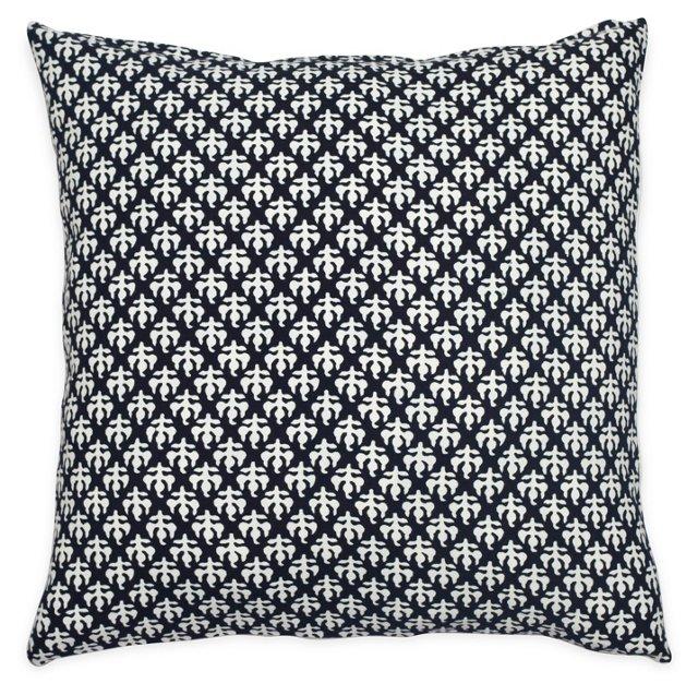 Block Party 20x20 Cotton Pillow, Black