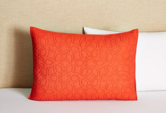 Optic Bloom Quilted Stand. Sham, Coral