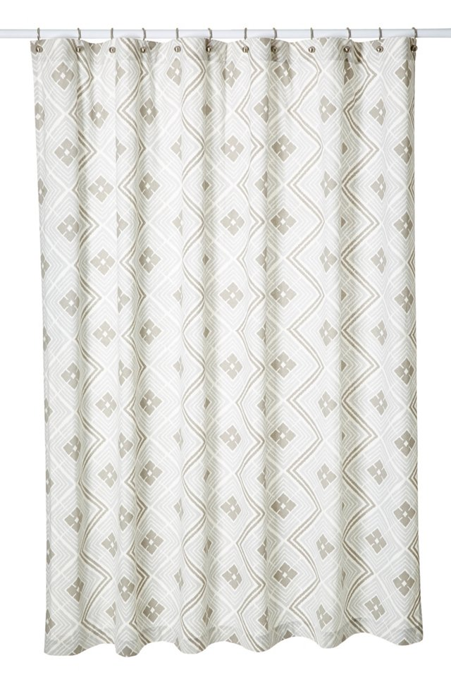 Ikat Diamond Shower Curtain, Dove/Pewter