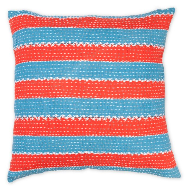 Striped 20x20 Cotton Pillow, Blue/Red