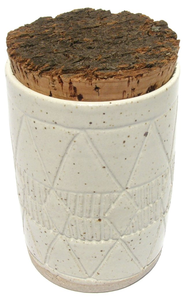 Corked Stoneware Cannister I