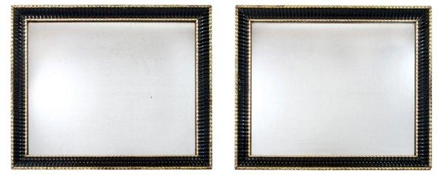 Ebonized & Parcel-Gilt Mirrors, Pair