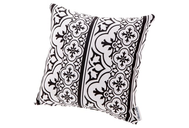Patterned Throw Pillow, Black/White