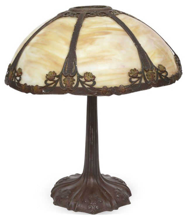 Vintage American Slag Glass Table Lamp