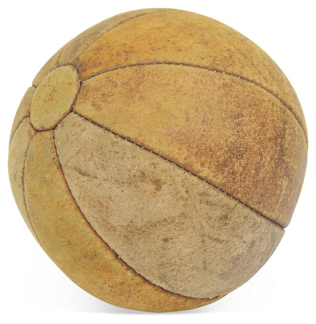 Vintage French  Leather Medicine Ball