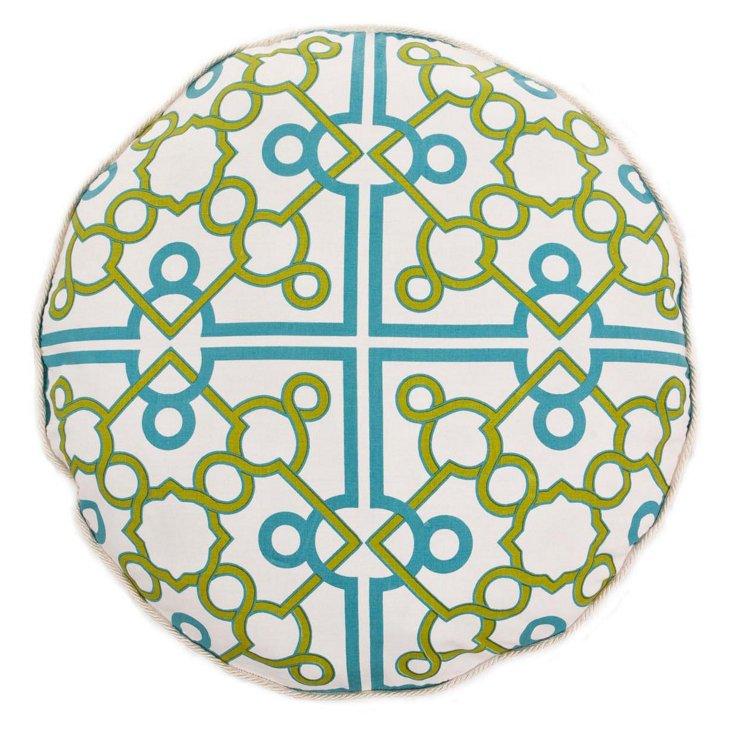 """Trellis 20"""" Round Cotton Pillow, Green"""