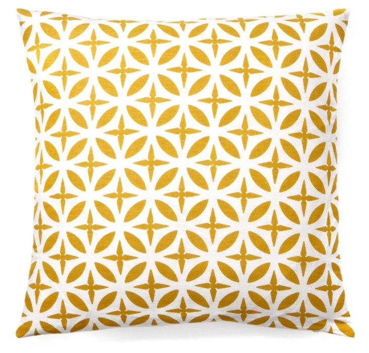 Troy 20x20 Cotton Pillow, Mustard