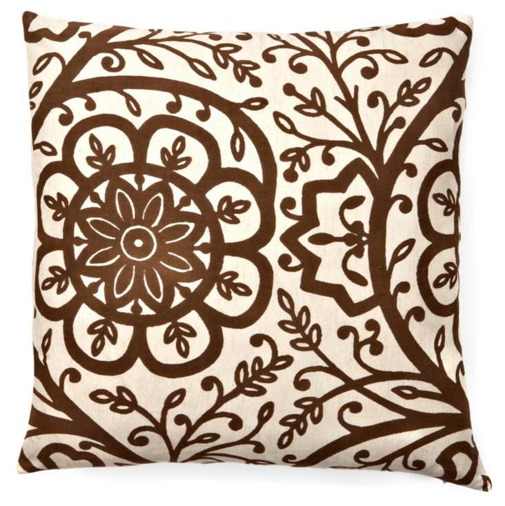 Avalon 20x20 Cotton Pillow, Brown