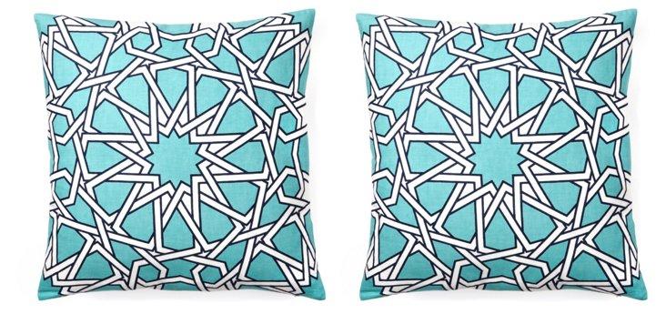 Byzantine 20x20 Cotton Pillow, Sky